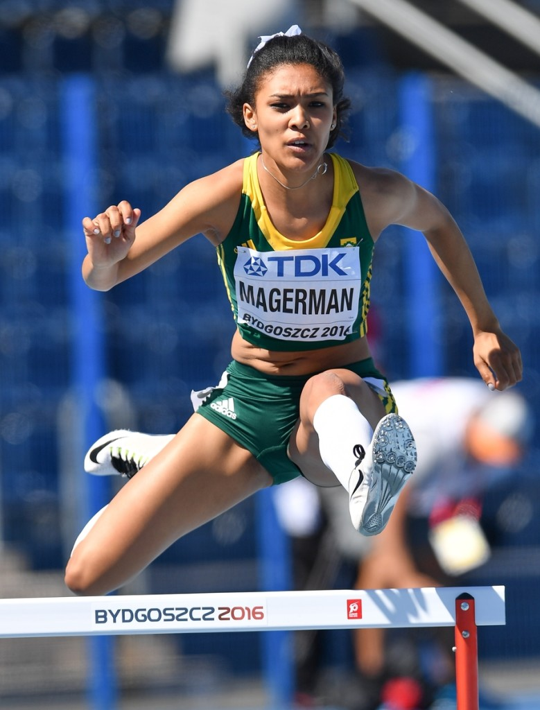 BYDGOSZCZ, POLAND - JULY 20: Gezelle Magerman of South Africa in the heats of the women's 400m hurdles during the morning session on day 2 of the IAAF World Junior Championships at Zawisza Stadium on July 20, 2016 in Bydgoszcz, Poland. (Photo by Roger Sedres/Gallo Images)