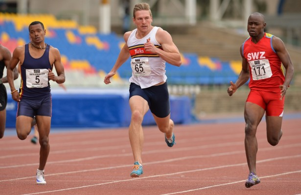 BLOEMFONTEIN, SOUTH AFRICA - MAY 07: Kyle Appel of Bellville Athletic Club,  Emile Erasmus of TUKS  and Sibusiso Matsenjwa of Swaziland in the  semi final of the mens 200m during the SA Open Athletic Championships at Mangaung Stadium on May 07 2016 in Bloemfontein, South Africa. (Photo by Roger Sedres/Gallo Images)