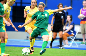 RIO DE JANEIRO, BRAZIL. 3 AUGUST 2016.  Stephanie Malherbe during the soccer game between South Africa in the Olympic Stadium in Rio de Janeiro today.   Copyright picture by WESSEL OOSTHUIZEN / SASPA