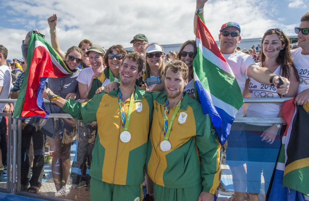 RIO DE JANEIRO, BRAZIL - AUGUST 11:   Lawrence BRITTAIN and Shaun KEELING of South Africa wins Silver in the Men's Pair Olympic Rowing Finals at the Lagoa Stadium on August 11, 2016 in Rio de Janeiro, Brazil. (Photo by ©Christiaan Kotze/SASPA