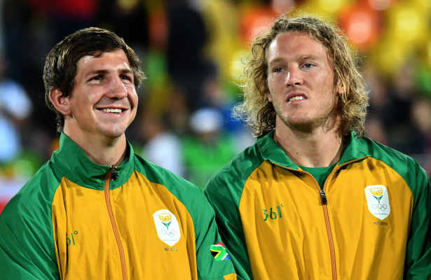 RIO DE JANEIRO, BRAZIL. 11 AUGUST 2016. Kwagga Smith and Werner Kok during the medal ceremony of the Sevens Rugby at the Deodora Stadium at the Rio 2016 Olympic Games tonight.    Copyright picture by WESSEL OOSTHUIZEN / SASPA