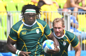 RIO DE JANEIRO, BRAZIL .9 AUGUST 2016. Tim Agaba and Phlip Snyman during the Sevens Rugby match against  Spain at the Deodora Stadium in the Deodora Olympic Park at the  Rio 2016 Olympic Games today.    Copyright picture by WESSEL OOSTHUIZEN / SASPA     Copyright picture by WESSEL OOSTHUIZEN / SASPA