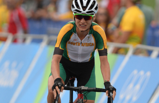 RIO DE JANEIRO, BRAZIL 7 AUGUST 2016. Ashley Moolman-Pasio during the  Women's cycling road race at the  Rio 2016 Olympic Games today.   Copyright picture by WESSEL OOSTHUIZEN / SASPA
