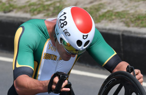 RIO DE JANEIRO, BRAZIL. 14 September 2016. South Africa's Ernst van Dyk during the Men's Time Trial of the Para Cycling Road Race of the Paralympics in Rio de Janeiro today.   Copyright picture by WESSEL OOSTHUIZEN / SASPA