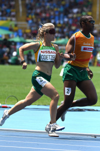 RIO DE JANEIRO, BRAZIL. 15 September 2016. South Africa's Louzanne Coetzee and her guide Khotatso Mokone during the 1 500m of the Paralympics in Rio de Janeiro today.  Copyright picture by WESSEL OOSTHUIZEN / SASPA