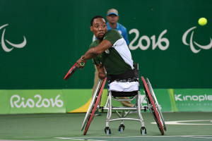 RIO DE JANEIRO, BRAZIL. 12 September 2016. Lucas Sithole during the semi final of the wheelchair tennis of the Paralympics in Rio de Janeiro today.  Copyright picture by WESSEL OOSTHUIZEN / SASPA