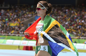 RIO DE JANEIRO, BRAZIL. 17 September 2016. South Africa's Ilse Hayse during the 400m final of the Paralympics in Rio de Janeiro today. Hayse won silver won the gold medal.  Copyright picture by WESSEL OOSTHUIZEN / SASPA