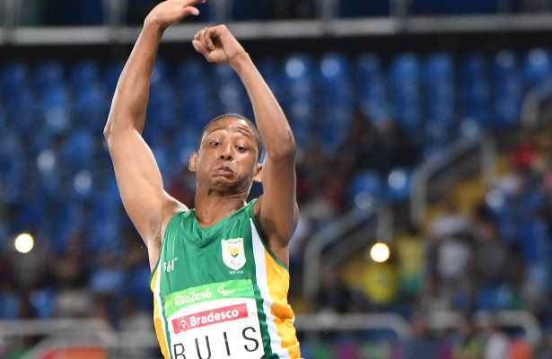 RIO DE JANEIRO, BRAZIL. 15 September 2016. South Africa's Dyan Buis during the long jump of the Paralympics in Rio de Janeiro today. Buis won the bronze medal.  Copyright picture by WESSEL OOSTHUIZEN / SASPA