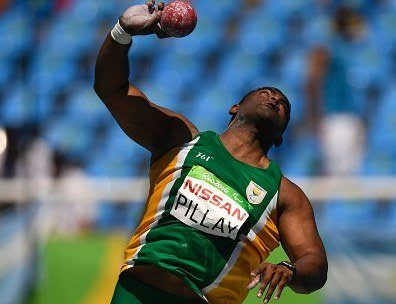 South African Tyrone Pillay competes during the Men's Shot put final of the Rio 2016 Paralympic Games in Rio de Janeiro, Brazil on September 12, 2016. / AFP / CHRISTOPHE SIMON        (Photo credit should read CHRISTOPHE SIMON/AFP/Getty Images)