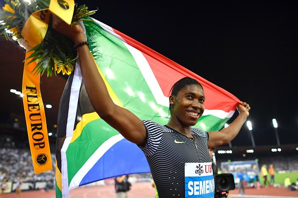"""South Africa's Caster Semenya celebrates after winning the Women's 800m race during the Diamond League Athletics meeting """"Weltklasse"""" on September 1, 2016 at the Letziground stadium in Zurich. / AFP / FABRICE COFFRINI        (Photo credit should read FABRICE COFFRINI/AFP/Getty Images)"""