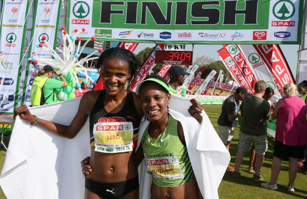 PRETORIA, SOUTH AFRICA - SEPTEMBER 03: The top 2 finishers, Lebo Phalula (2nd) andRutendo Nyahora (Winner) during the Spar Women's 10km Challenge at SuperSport Park on September 03, 2016 in Pretoria, South Africa. (Photo by Reg Caldecott/Gallo Images)