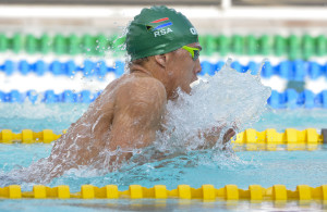 Allaric Basson(RSA) during the 12th African Swimming Champs 2016 Day 1 afternoon session at Stadium Swimming Pool in Bloemfontein on 16 October 2016. Photo: Frikkie Kapp/Superimage Media