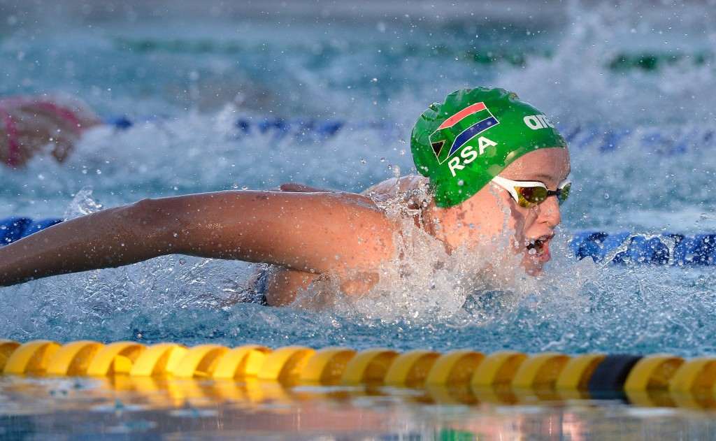 Nathania van Niekerk in the 50 m Fly final during day 2 of the 12th African Swimming Champs 2016 at Stadium Swimming Pool in Bloemfontein on 17 October 2016. Photo: Gerhard Steenkamp/Superimage Media.