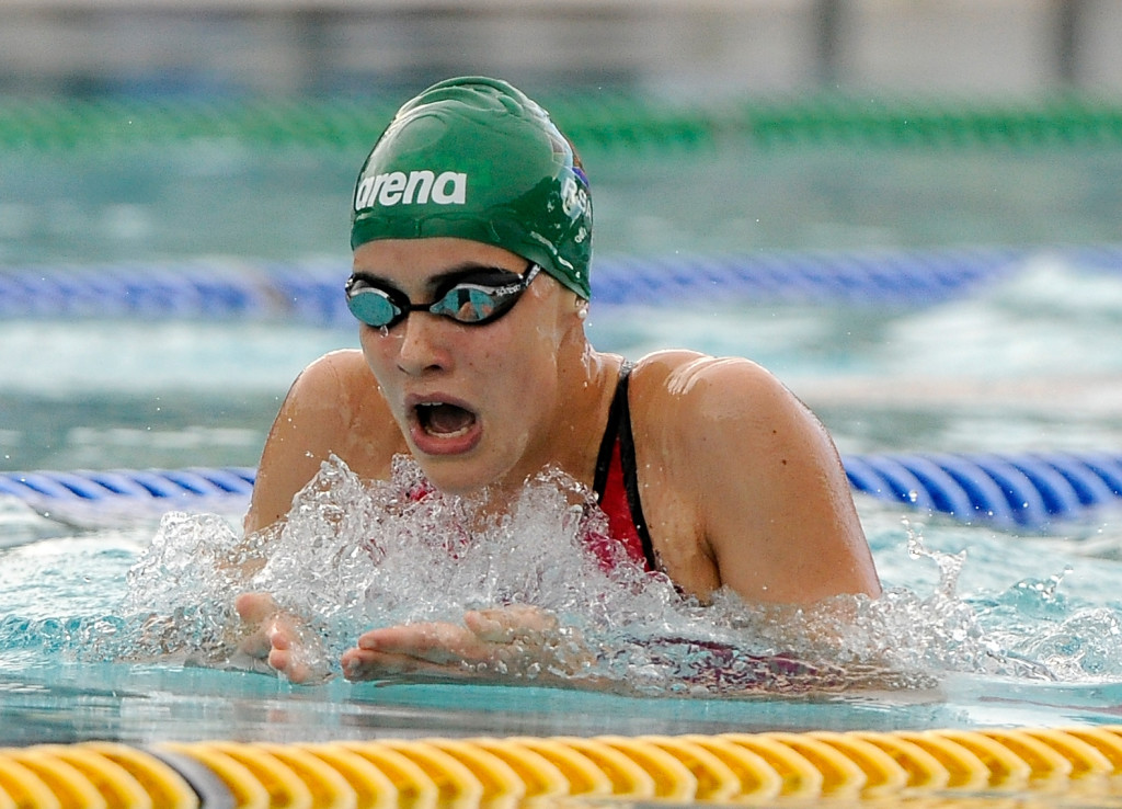 Rebecca Meder (RSA) in the 200m IM final during the day five of the 12th African Swimming Champs 2016 at the Stadium swimming pool in Bloemfontein on 21 October 2016. Photo: Gerhard Steenkamp/Superimage Media.
