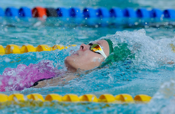 Mariella Venter (RSA) in the 200m Back final during day six of the 12th African Swimming Champs 2016 at the Stadium swimming pool in Bloemfontein on 22 October 2016. Photo: Gerhard Steenkamp/Superimage Media.