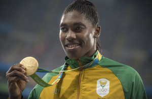 RIO DE JANEIRO, BRAZIL - AUGUST 20:  Caster Semenya of South Africa celebrating her gold medal in the Women's 800m race. Olympic Athletics August 20, 2016 at the Olympic Stadium in Rio de Janeiro, Brazil. (Photo by ©Christiaan Kotze/SASPA
