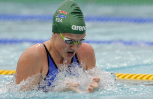 Kaylene Corbett (RSA) in the 50m Breast final during day 3 of the 12th African Swimming Champs 2016 at Stadium Swimming Pool in Bloemfontein on 18 October 2016. Photo: Gerhard Steenkamp/Superimage Media.
