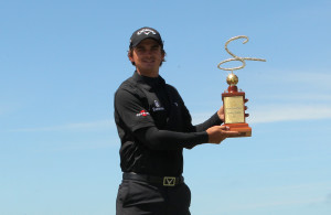 PORT ALFRED, SOUTH AFRICA - OCTOBER 14: Christiaan Bezuidenhout during the trophy presentation during day 3 of the Sun Fish River Challenge at Fish River Sun Country Club on October 14, 2016 in Port Alfred, South Africa. EDITOR'S NOTE: For free editorial use. Not available for sale. No commercial usage. (Photo by Petri Oeschger/Sunshine Tour/Gallo Images)