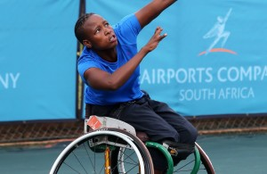 BENONI, SOUTH AFRICA - APRIL 09: Kgothatso Montjane, the 4th seed of South Africa in action against Thando Hlatswayo (RSA) in the first round of the women's singles during day 2 of the Airports Company South Africa Gauteng Open at the Gauteng East Tennis Complex on April 09, 2015 in Benoni South Africa. (Photo by Reg Caldecott/Gallo Images)