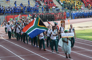 LUANDA, ANGOLA - DECEMBER 09: Team South Africa during the Opening Ceremony of the 2016 Africa Union Sports Council Region 5 Games on December 09, 2016 in Luanda, Angola. (Photo by Wessel Oosthuizen/Gallo Images)