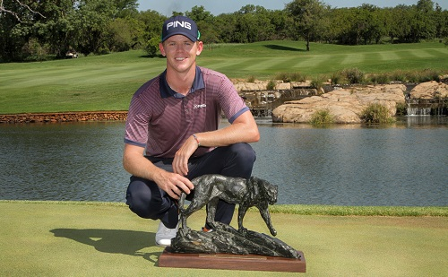 MPUMALANGA, SOUTH AFRICA - DECEMBER 04: Brandon Stone during the trophy presentation during day 4 of the Alfred Dunhill Championship at Leopard Creek Country Club, Malelane on December 04, 2016 in Mpumalanga, South Africa. (EDITORS NOTE: For free editorial use. Not available for sale. No commercial usage.) (Photo by Petri Oeschger/Sunshine Tour/Gallo Images)