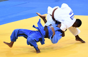 LUANDA, ANGOLA - DECEMBER 10: South Africa's Reagan Wlson (blue suit) during the judo competition on day 1 of the 2016 Africa Union Sports Council Region 5 Games on December 10, 2016 in Luanda, Angola. (Photo by Wessel Oosthuizen/Gallo Images)