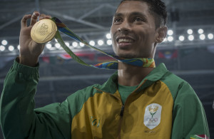RIO DE JANEIRO, BRAZIL - AUGUST 15:  Wayde van Niekerk of South Africa is crowned Olympic champion as he gets his gold medal for winning the 400m for men's race. Olympic athletics day four Finals on August 15, 2016 at the Olympic Stadium in Rio de Janeiro, Brazil. (Photo by ©Christiaan Kotze/SASPA