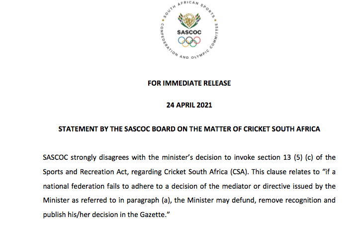 SASCOC Board Statement on Cricket SA