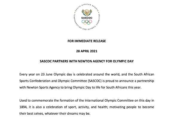 Sascoc Partners With Newton Agency For Olympic Day