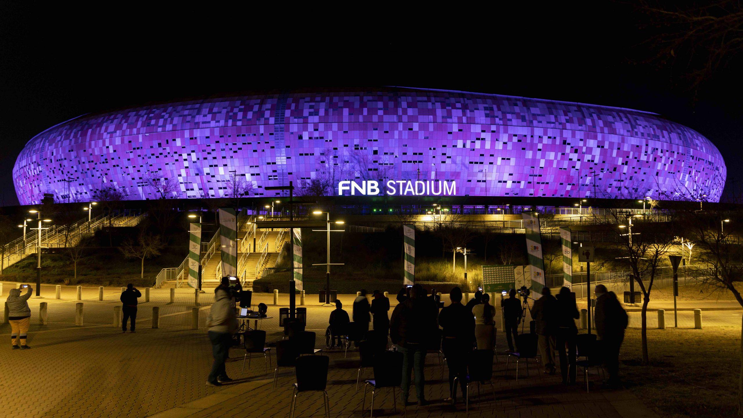 WeThe15 campaign: FNB Stadium lit up purple